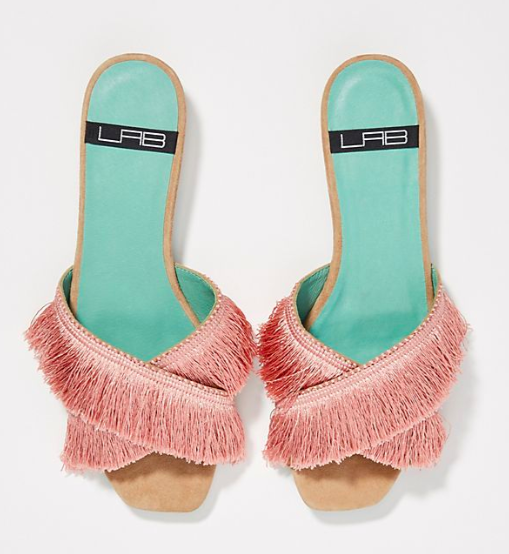 LAB Fringed Slide Sandals
