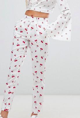 Daisy Street cigarette pants in cherry print