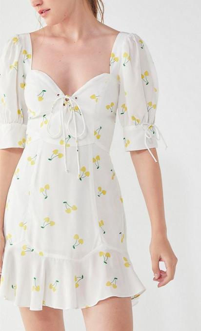 For Love & Lemons Ashland Lace-Up Cherry Dress