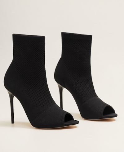 MAngo Peep-toe sock ankle boots