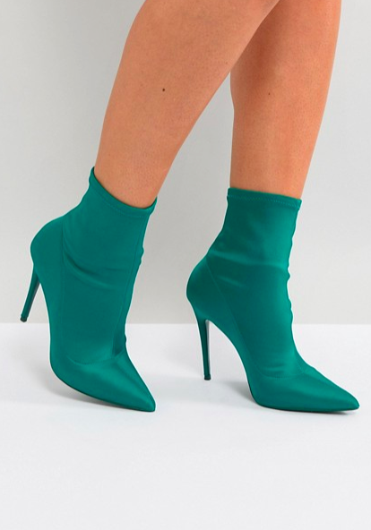 ALDO Cirelle Pull On Sock Boot in Emerald Green