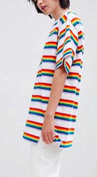 Monki Rainbow Stripe Oversized Tee