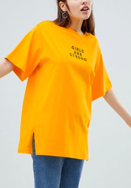 Monki Girls Are Strong Oversized Tee