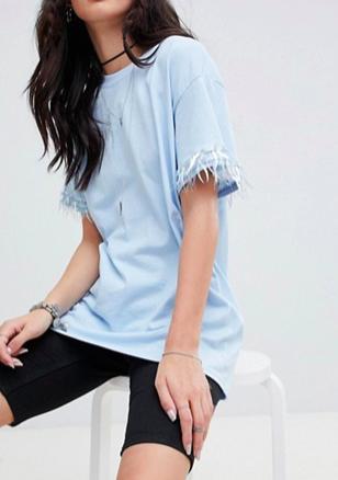 Rokoko oversized boyfriend t-shirt with sequin trim