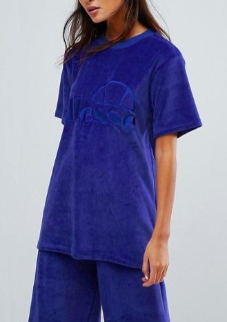 Ellesse Oversized T-Shirt Co-Ord In Velour