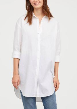 HM Long Linen-blend Shirt