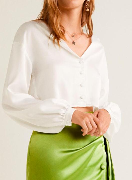 Mango Satin crop blouse