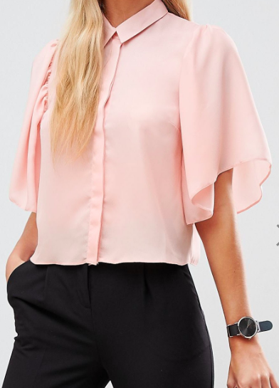 ASOS DESIGN cropped blouse with flutter sleeve