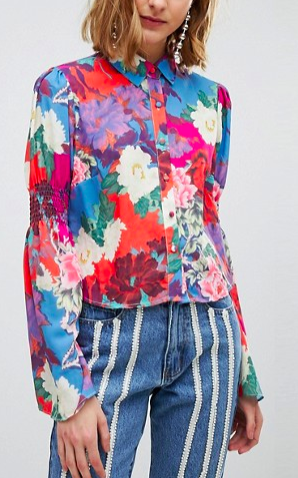 Lost Ink Shirt In Floral With Shirred Bell Sleeve