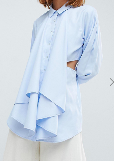 ASOS WHITE Shirt with Cut Out Detail