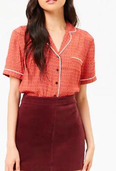 Forever 21 Circle Print Pajama-Inspired Shirt