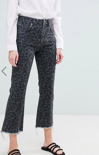 ASOS DESIGN Egerton rigid cropped flare jeans in dark leopard print