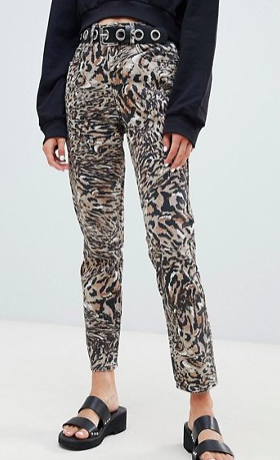 ASOS DESIGN Ritson rigid mom jeans in abstract leopard print