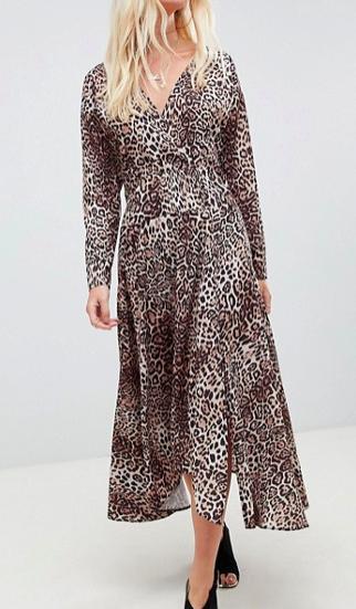 ASOS DESIGN wrap midi dress in leopard print