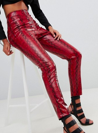 Lasula high waist PANTS in red snake print