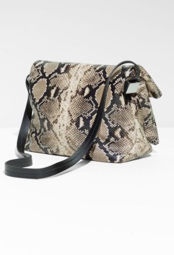 Fold-Over Snake Embossed Leather Crossbody