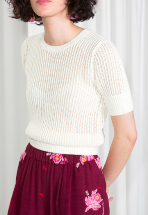 Stories Open Crochet Knit Top