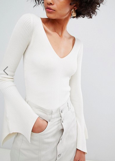 River Island v neck fine knit sweater with flared sleeves in cream
