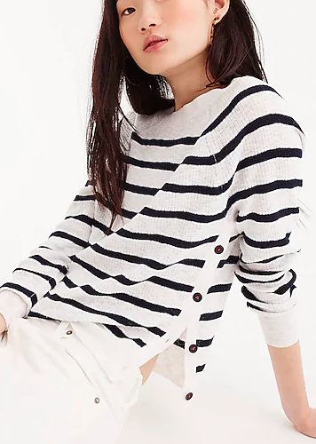 Striped crewneck sweater with side buttons