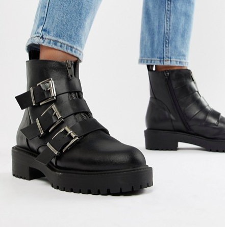 ASOS DESIGN Arco chunky multi buckle ankle boots