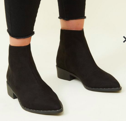 NEW LOOK Black Suedette Stud Trim Pointed Ankle BooTS