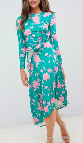 ASOS DESIGN midi dress with ruched waist in shadow print