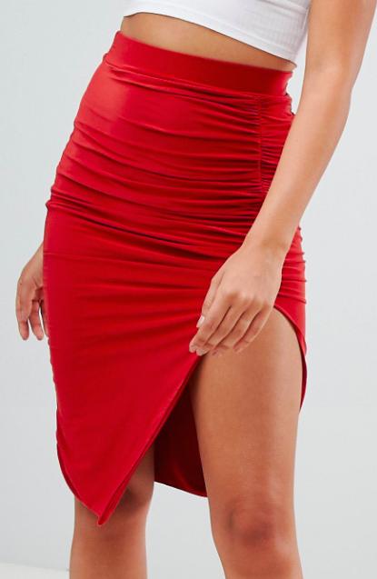 PrettyLittleThing Slinky Ruched Seam Midi Skirt