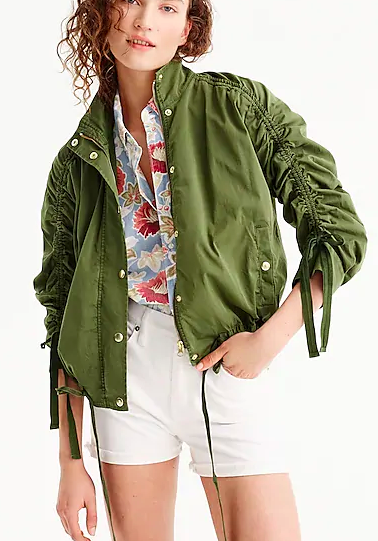 J.Crew Ruched-sleeve field jacket