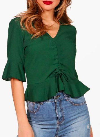 Boohoo ruched Front Ruffle Sleeve Top