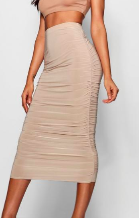 Boohoo Tall Ruched Slinky Midi Skirt