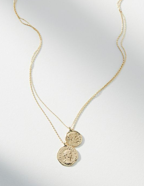 Anthropologie Lucky Penny Layered Necklace