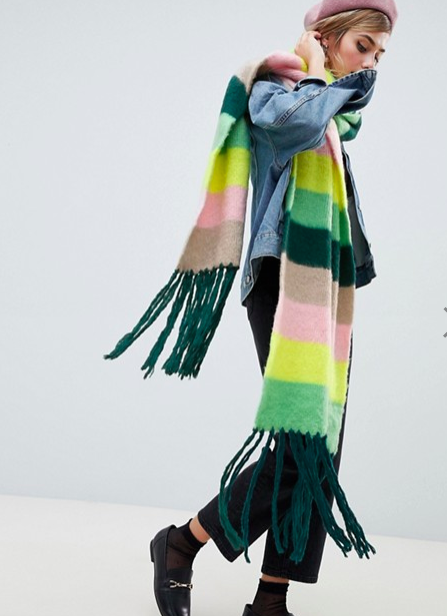 ASOS DESIGN oversized brushed scarf in stripe with tassels