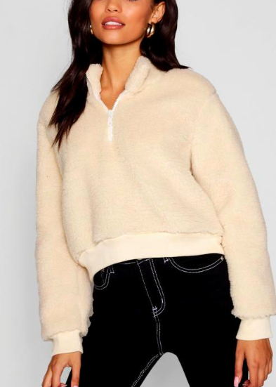 boohoo Teddy Funnel Neck Jacket