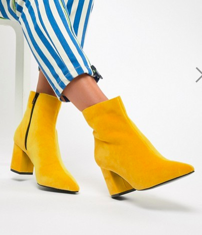 River Island heeled minimal boot in yellow