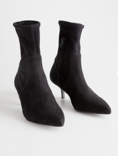 Stories Suede Sock Kitten Heel Boot