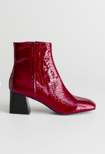 Stories Patent Square Toe Ankle Boots