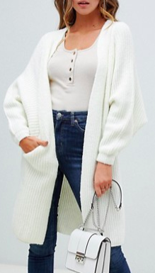 Missguided oversized longline cardigan in white