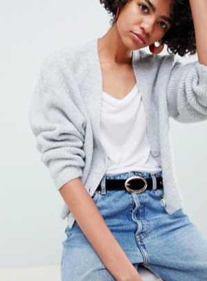 167520e45021 ASOS DESIGN eco cropped cardigan in fluffy yarn with buttons