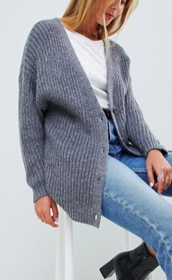 ASOS DESIGN oversize cardigan in chunky rib with buttons
