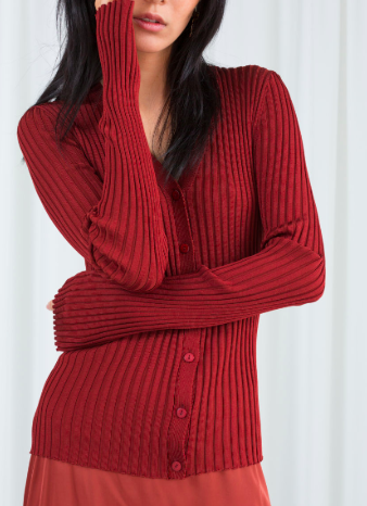 Stories Fitted Ribbed Cardigan