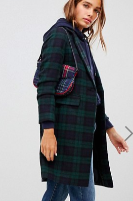 New Look Plaid Check Coat