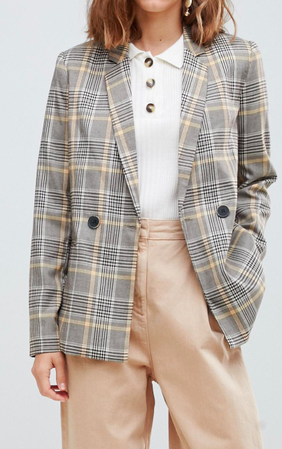 Stradivarius Yellow Check double breasted blazer