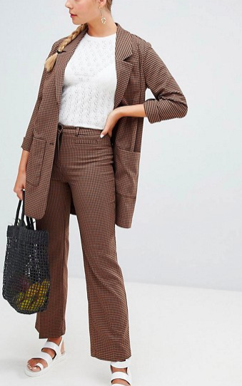 Monki longline blazer & wide leg pants in brown check print two-piece