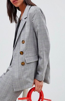 Vero Moda Check Double Breasted Blazer