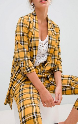 Stradivarius yellow plaid longline blazer