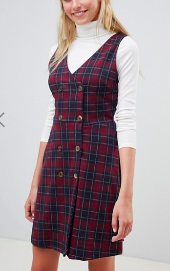 New Look Plaid Double Breasted Pinny Dress