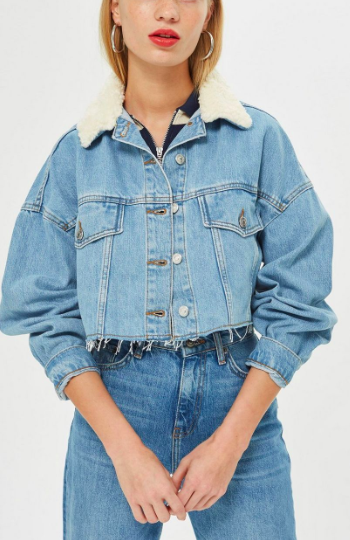 Topshop Borg Collar Hacked Denim Jacket