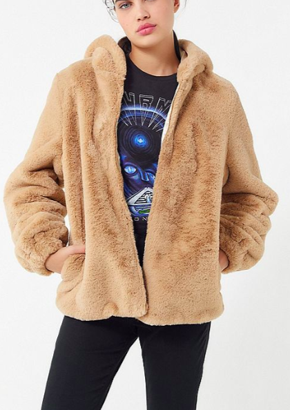 UO Faux Fur Hooded Zip-Front Jacket
