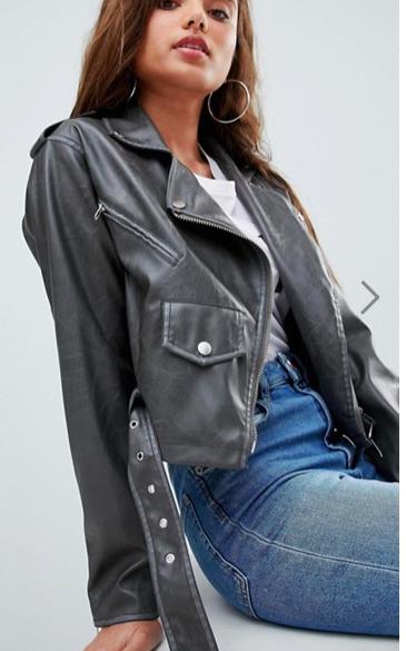 ASOS Leather Look Washed Biker Jacket