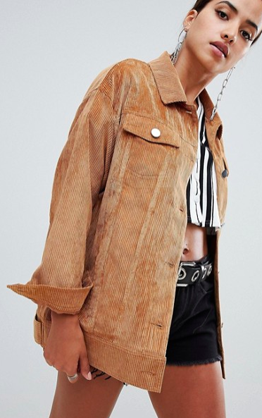 Missguided cord trucker jacket in brown